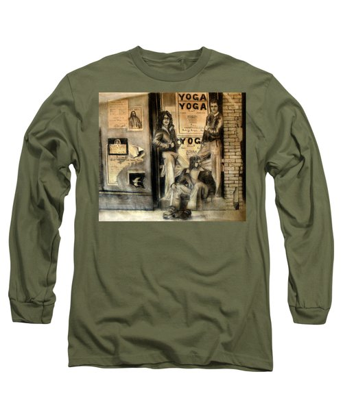 Long Sleeve T-Shirt featuring the drawing The Gang by Albert Puskaric