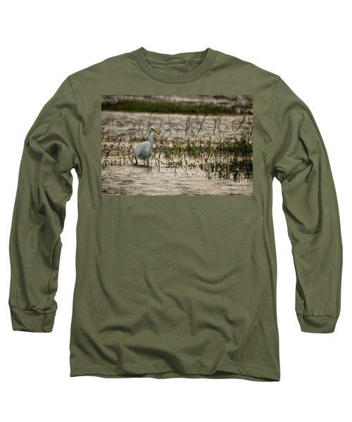 The Great Egret  Ardea Alba Syn  Casmerodius Albus  Long Sleeve T-Shirt