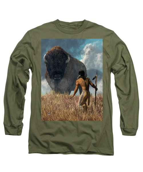 The Hunter And The Buffalo Long Sleeve T-Shirt