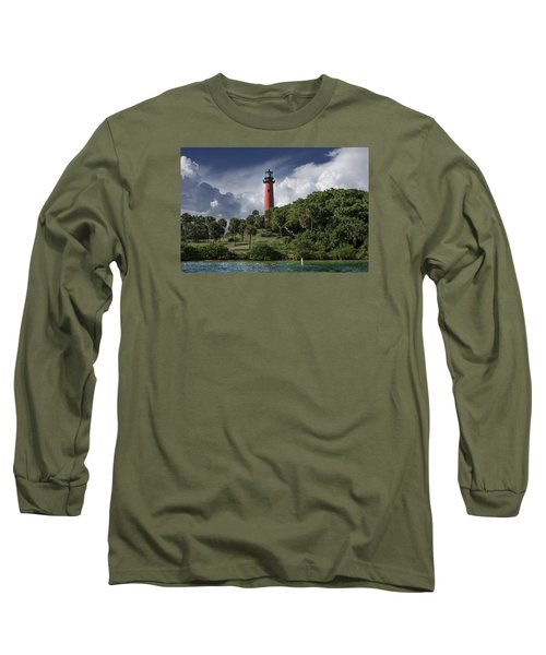 The Jupiter Inlet Lighthouse Long Sleeve T-Shirt by Laura Fasulo