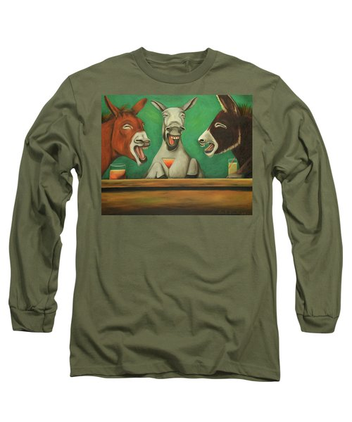 Long Sleeve T-Shirt featuring the painting The Laughing Donkeys by Leah Saulnier The Painting Maniac