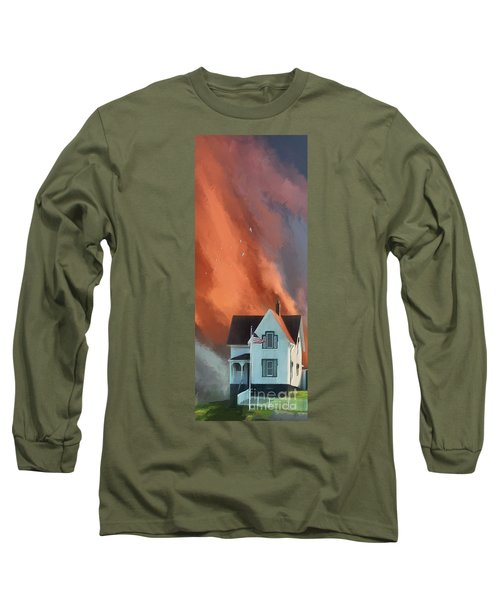 Long Sleeve T-Shirt featuring the digital art The Lighthouse Keeper's House by Lois Bryan