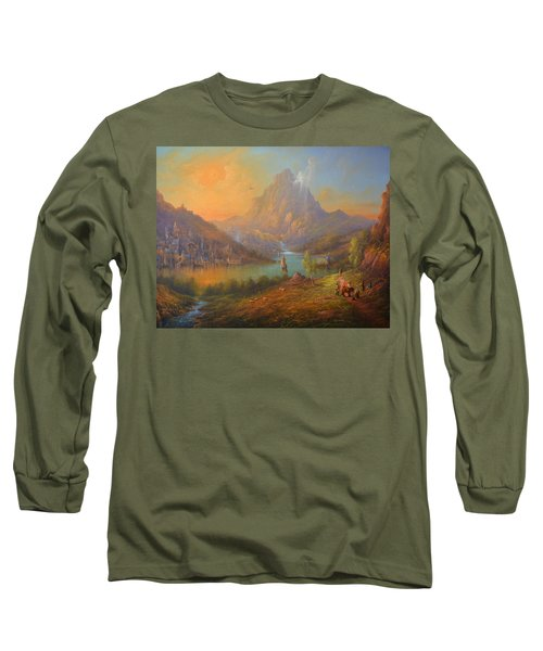 The Lonely Mountain Smaug Long Sleeve T-Shirt by Joe  Gilronan