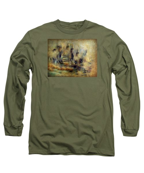Long Sleeve T-Shirt featuring the painting The Lost City By Sherriofpalmsprings by Sherri  Of Palm Springs