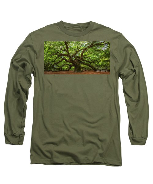 The Magical Angel Oak Tree Panorama  Long Sleeve T-Shirt by Michael Ver Sprill