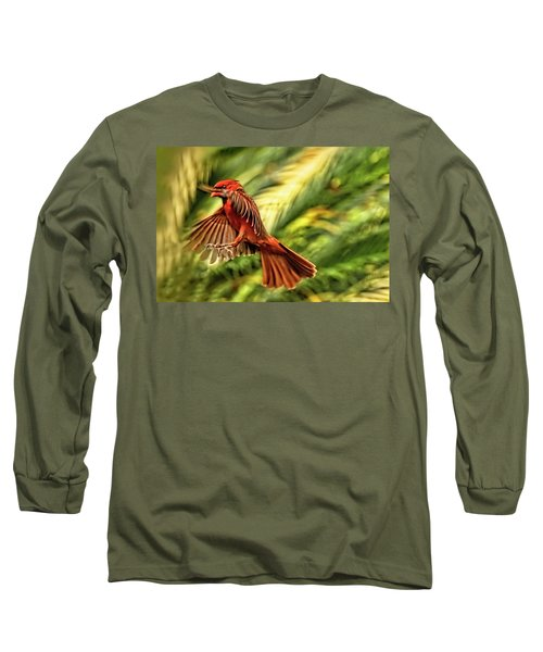 The Male Cardinal Approaches Long Sleeve T-Shirt