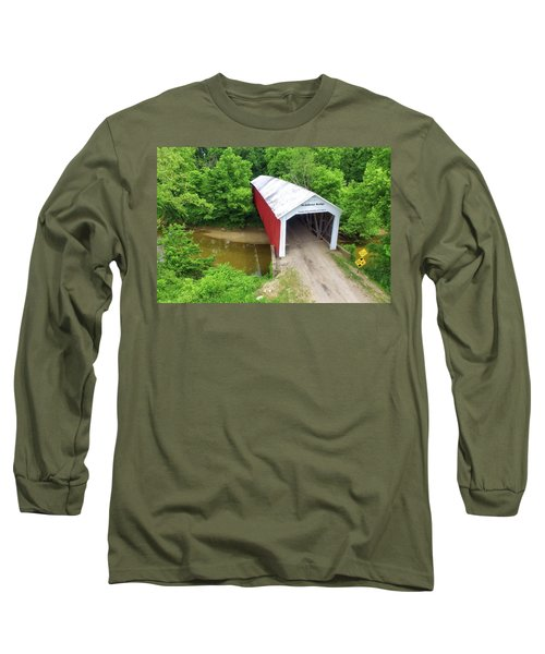 Long Sleeve T-Shirt featuring the photograph The Mcallister Covered Bridge - Ariel View by Harold Rau