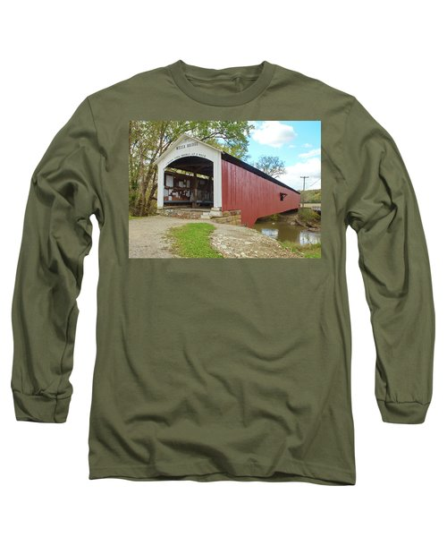 Long Sleeve T-Shirt featuring the photograph The Mecca Covered Bridge by Harold Rau