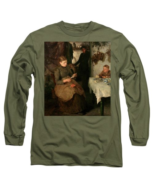 Long Sleeve T-Shirt featuring the painting The Message by Henry Scott Tuke
