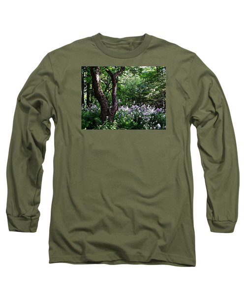 The Old Apple Tree, Fiddlehead Ferns And Wild Phlox Long Sleeve T-Shirt