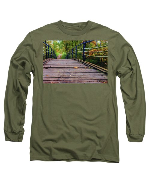 the old bridge over the river invites for a leisurely stroll in the autumn Park Long Sleeve T-Shirt