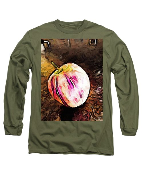 The Pale Pink Apple With The Hot Pink Stripes Long Sleeve T-Shirt