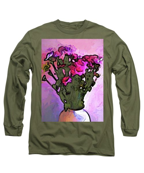 The Pink Flowers With The Long Stems In The Vase Long Sleeve T-Shirt