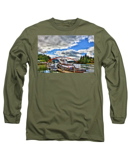 The Rainbow Bridge - Laconner Washington Long Sleeve T-Shirt by David Patterson