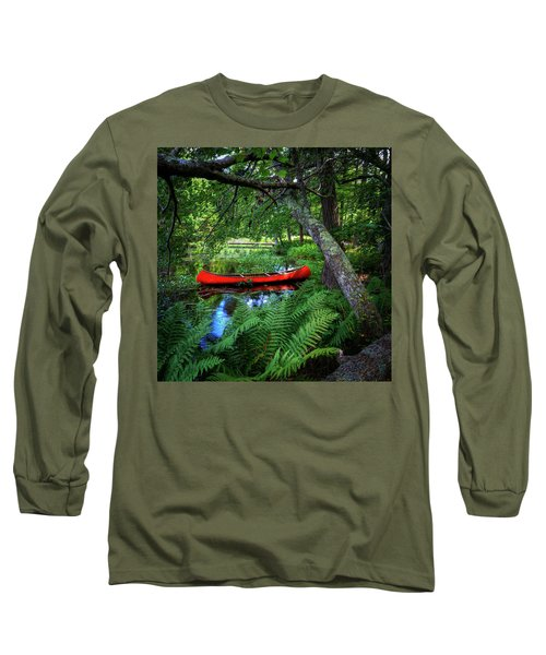 The Red Canoe On The Lake Long Sleeve T-Shirt