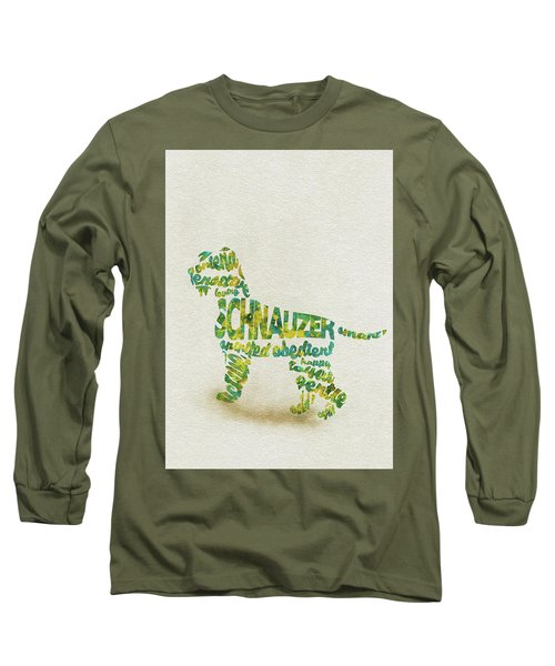 Long Sleeve T-Shirt featuring the painting The Schnauzer Dog Watercolor Painting / Typographic Art by Inspirowl Design