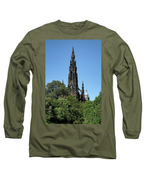 Long Sleeve T-Shirt featuring the photograph The Scott Monument In Edinburgh, Scotland by Jeremy Lavender Photography