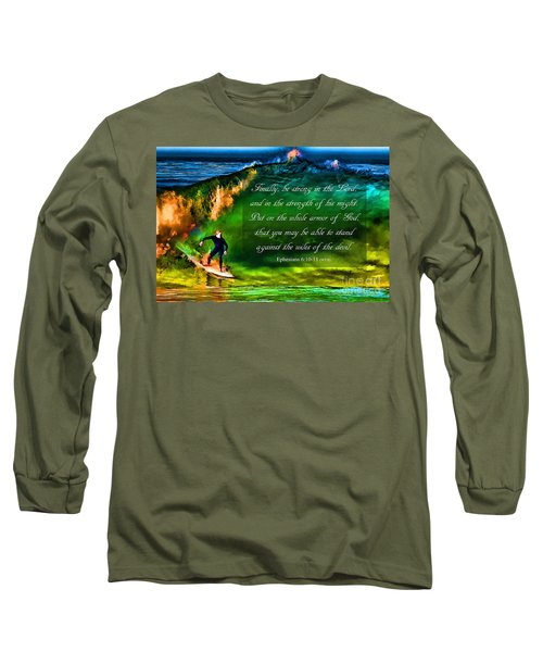 Long Sleeve T-Shirt featuring the photograph The Shadow Within With Bible Verse by John A Rodriguez