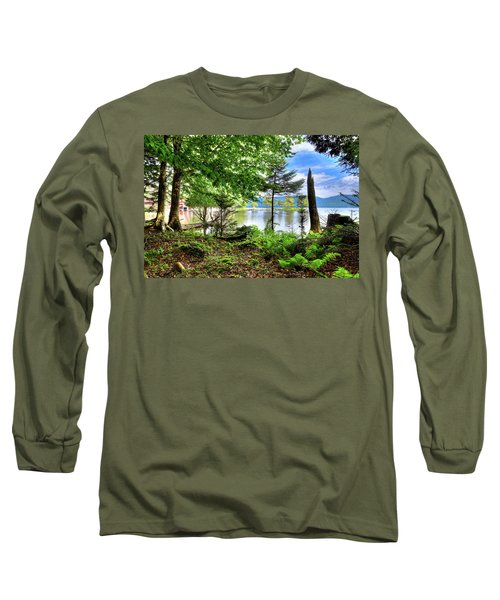 Long Sleeve T-Shirt featuring the photograph The Shore At Covewood by David Patterson
