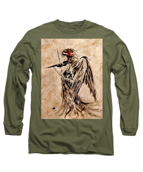 Long Sleeve T-Shirt featuring the painting The Sound Of An Angel. by Cristina Mihailescu