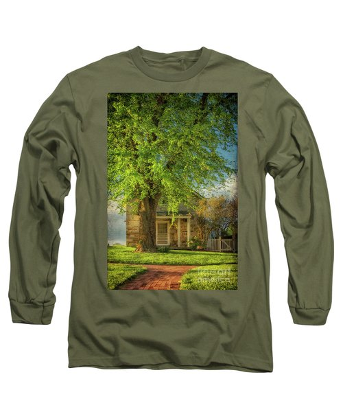 The Stone Cottage On A Spring Evening Long Sleeve T-Shirt by Lois Bryan