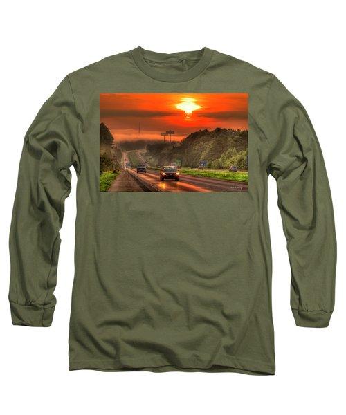 The Sunrise Commute Georgia Interstate 20 Art Long Sleeve T-Shirt