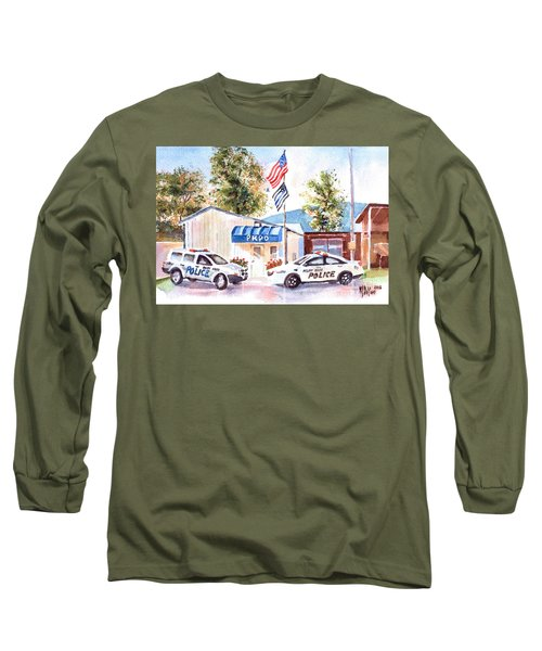 Long Sleeve T-Shirt featuring the painting The Thin Blue Line by Kip DeVore