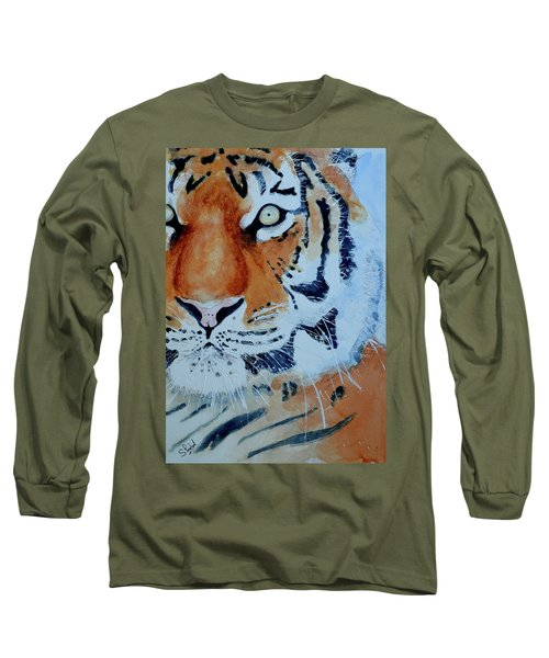 Long Sleeve T-Shirt featuring the painting The Tiger by Steven Ponsford