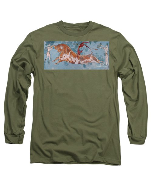 The Toreador Fresco, Knossos Palace, Crete Long Sleeve T-Shirt by Greek School