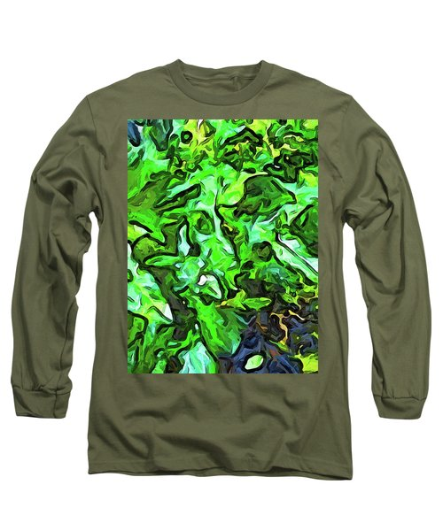 The Tropical Green Leaves With The Wings Long Sleeve T-Shirt