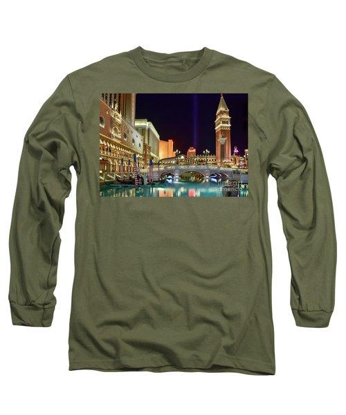 The Venetian Gondolas At Night Long Sleeve T-Shirt