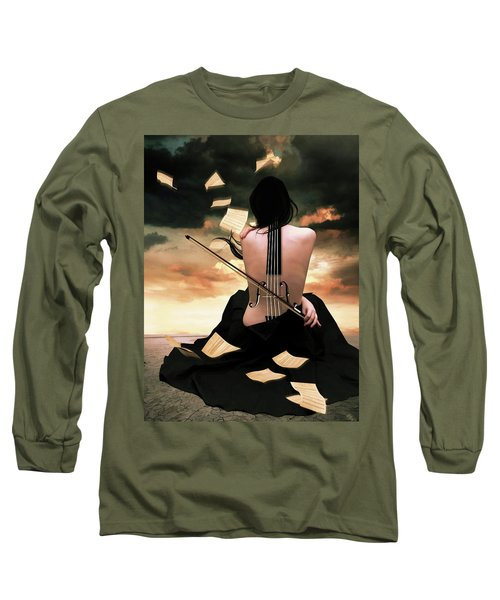 The Violin Song Long Sleeve T-Shirt by Mihaela Pater