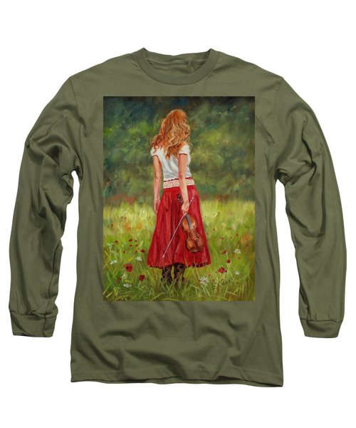 The Violinist Long Sleeve T-Shirt by David Stribbling