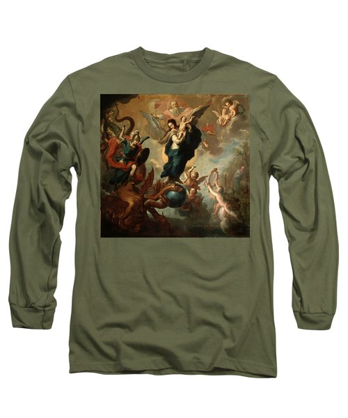 Long Sleeve T-Shirt featuring the painting The Virgin Of The Apocalypse by Miguel Cabrera