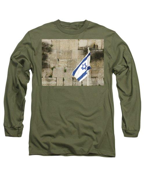 The Wailing Wall And The Flag Long Sleeve T-Shirt by Yoel Koskas