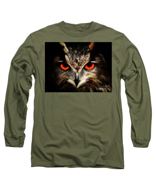 The Watcher - Owl Digital Painting Long Sleeve T-Shirt