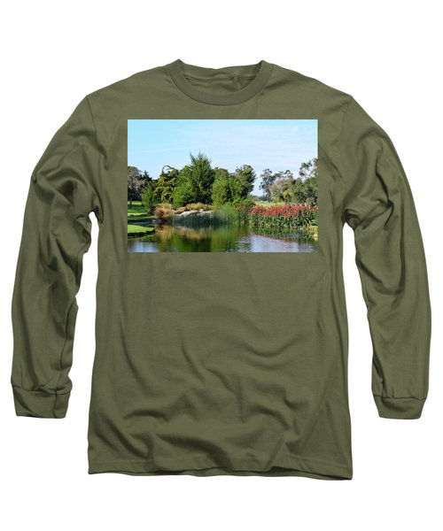 Long Sleeve T-Shirt featuring the photograph The Water On Number One Santa Maria Country Club by Barbara Snyder