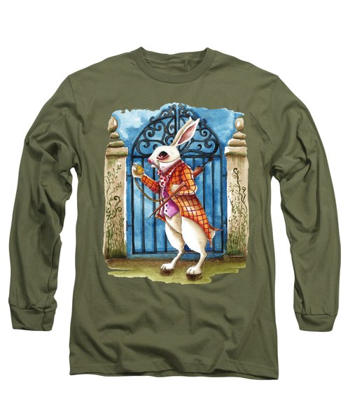 The White Rabbit Late Again Long Sleeve T-Shirt by Lucia Stewart