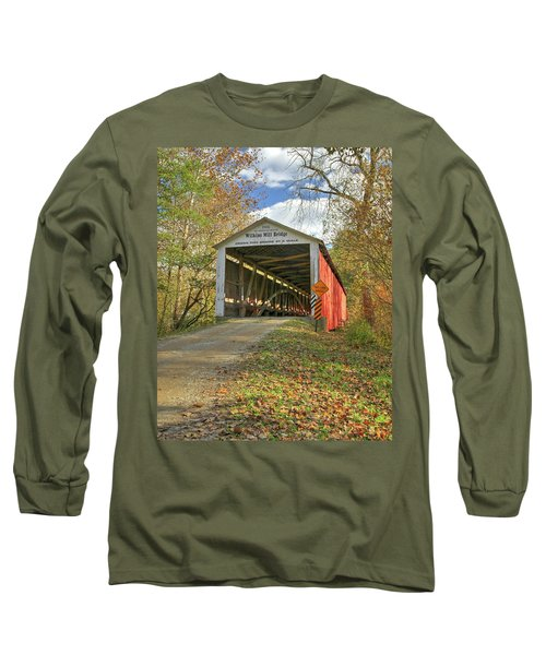 Long Sleeve T-Shirt featuring the photograph The Wilkins Mill Covered Bridge by Harold Rau