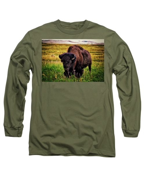 Long Sleeve T-Shirt featuring the photograph Theodore Roosevelt National Park 009 - Buffalo by George Bostian