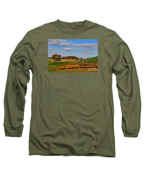 Thorntown Farm Field In The Fall Long Sleeve T-Shirt
