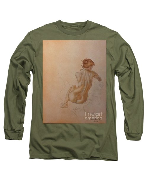Thoughtful Nude Lady Long Sleeve T-Shirt