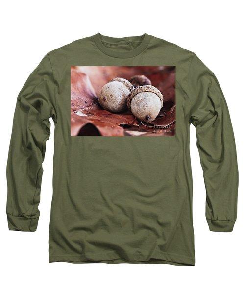 Three Acorns And Autumn Oak Leaves Long Sleeve T-Shirt by Stephanie Frey