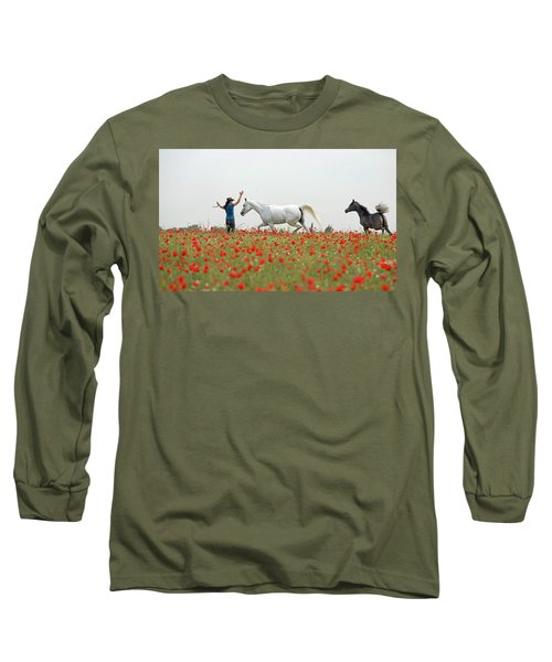 Three At The Poppies' Field Long Sleeve T-Shirt by Dubi Roman