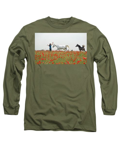 Three At The Poppies' Field Long Sleeve T-Shirt