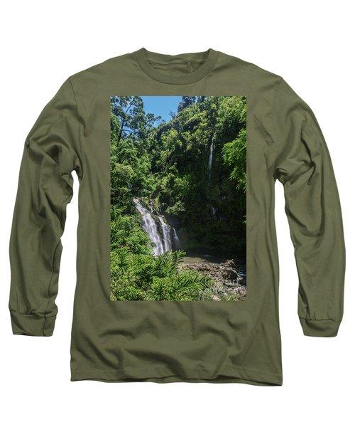 Three Bear Falls Or Upper Waikani Falls On The Road To Hana, Maui, Hawaii Long Sleeve T-Shirt by Peter Dang