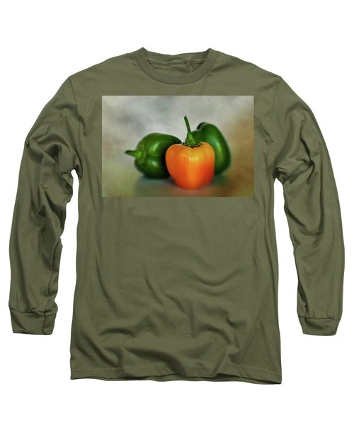 Long Sleeve T-Shirt featuring the photograph Three Bell Peppers by David and Carol Kelly