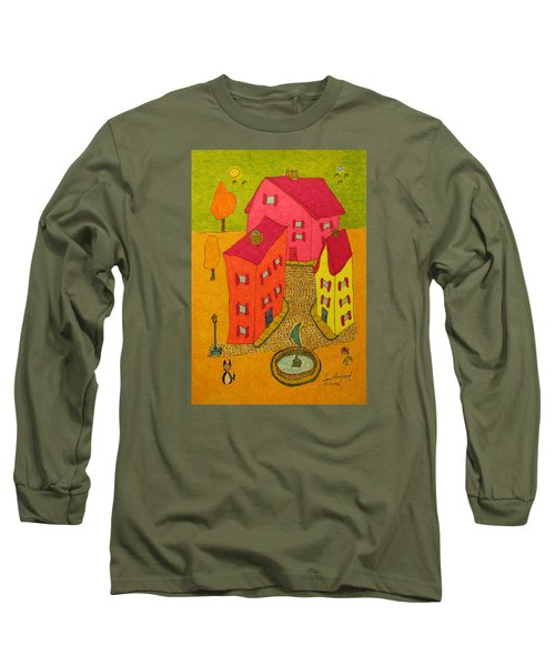 Three Homes With Sculpture Fountain Long Sleeve T-Shirt