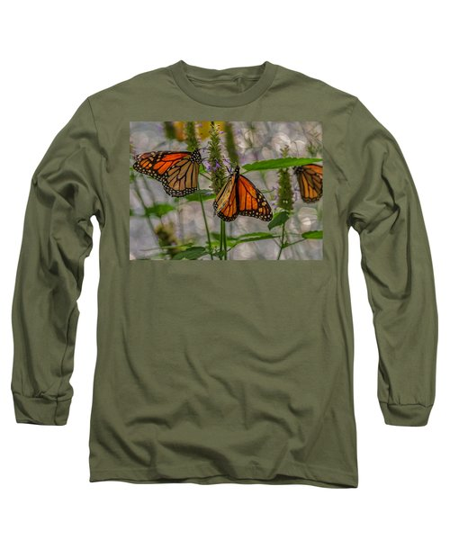 Three Monarch Butterfly Long Sleeve T-Shirt