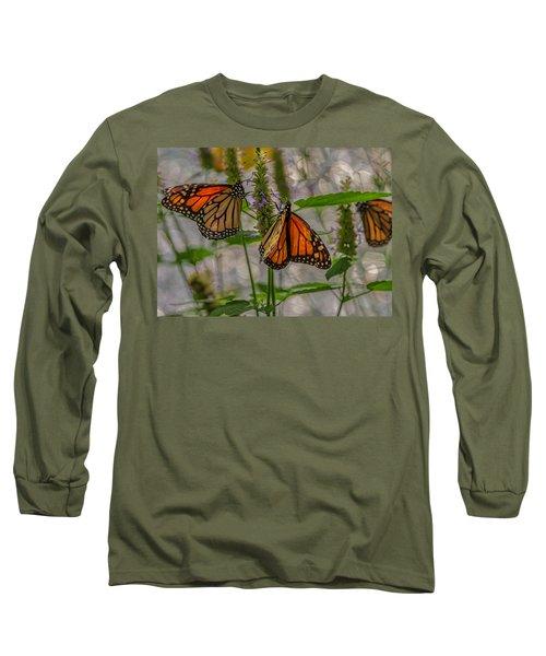 Three Monarch Butterfly Long Sleeve T-Shirt